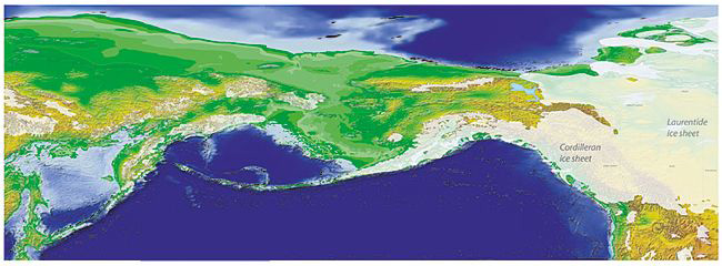 Beringia 18,000 years ago with exposed land bridge. Map courtesy Yukon Geological Survey