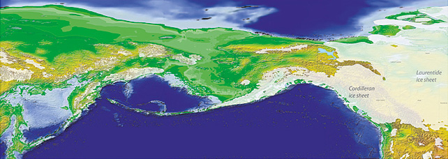 Beringia 18,000 years ago with exposed land bridge. Map courtesy Yukon Geological Survey.